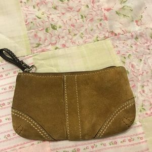 Suede coach coin purse
